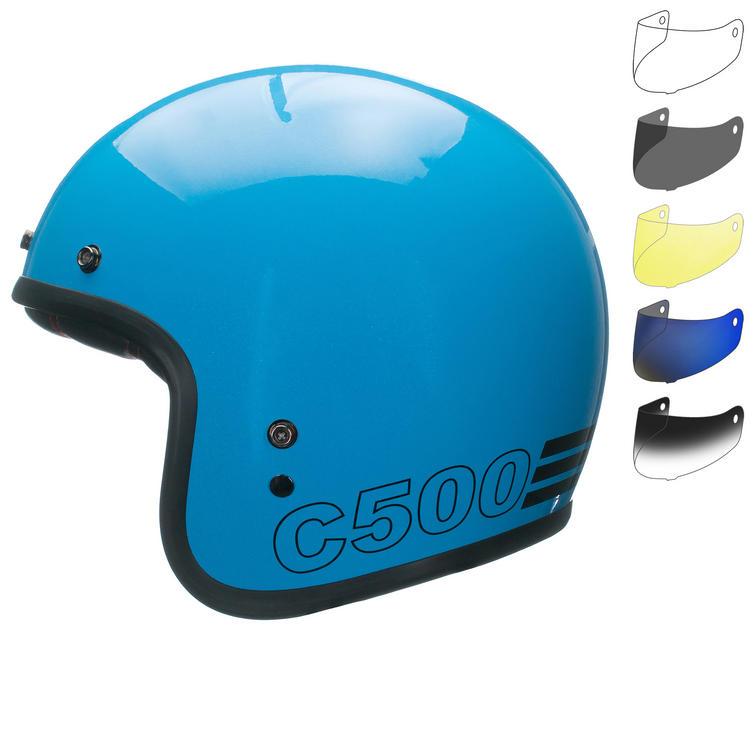 Bell Custom 500 Retro Open Face Motorcycle Helmet & Optional Bubble Visor
