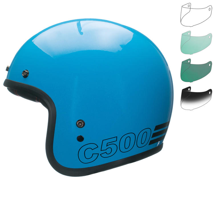 Bell Custom 500 Retro Open Face Motorcycle Helmet & Optional Bubble Deluxe Visor