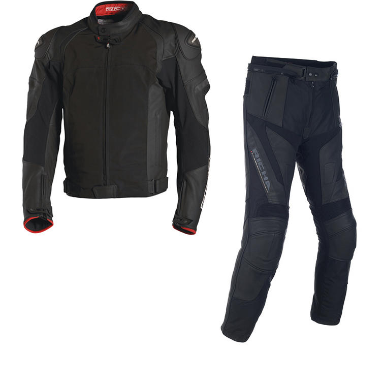 Richa Ballistic Leather Motorcycle Jacket & Trousers Black Kit
