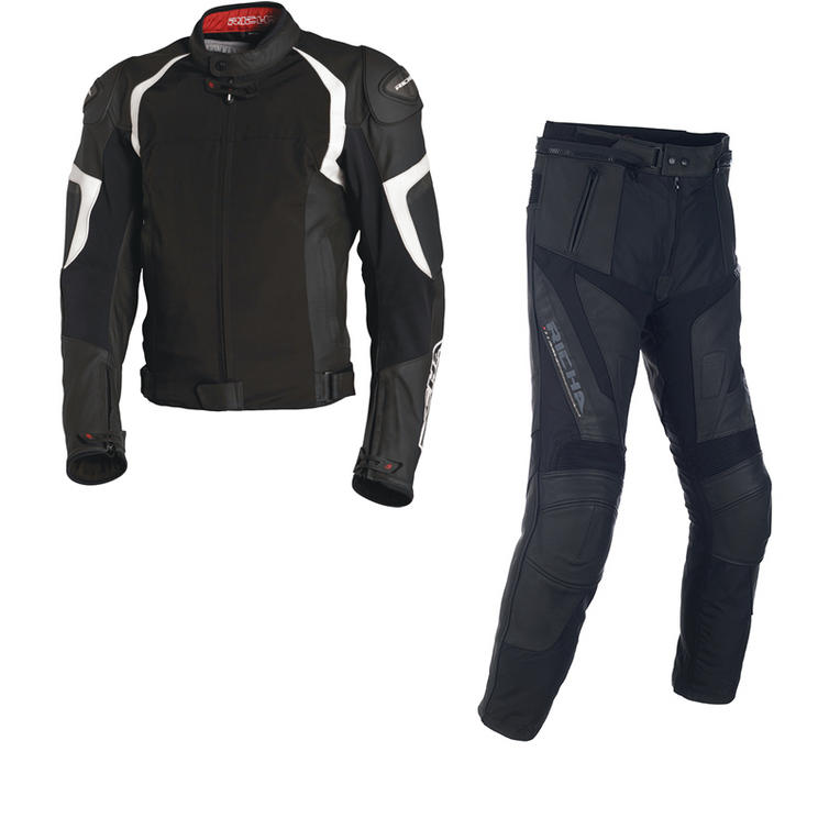 Richa Ballistic Leather Motorcycle Jacket & Trousers Black White Kit
