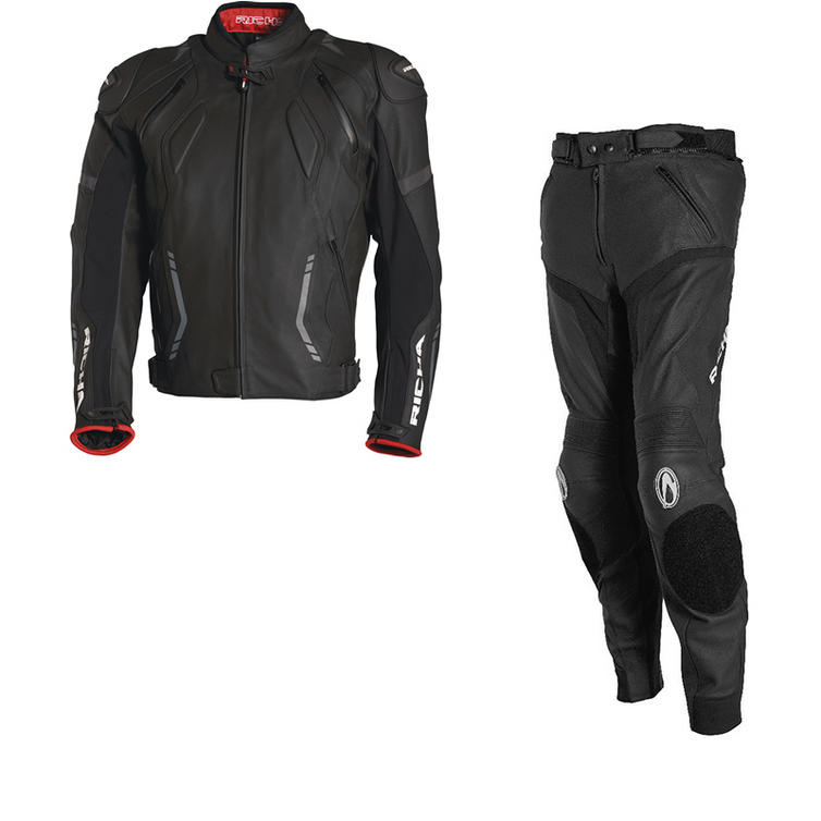 Richa Mugello Leather Motorcycle Jacket & Trousers Black Kit