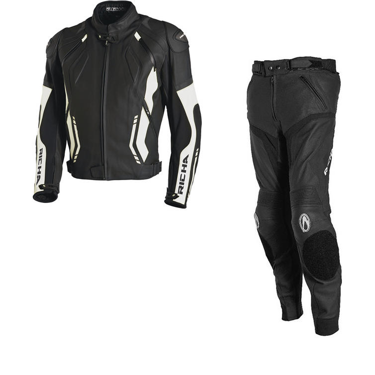 Richa Mugello Leather Motorcycle Jacket & Trousers Black White Kit