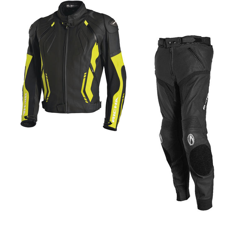 Richa Mugello Leather Motorcycle Jacket & Trousers Black Flou Kit