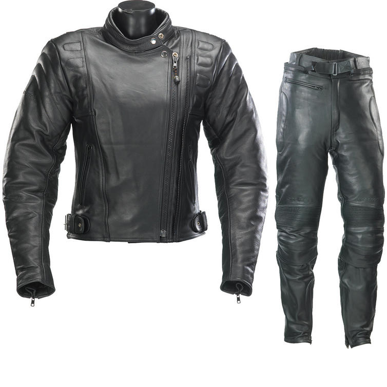 Spada Road Ladies Leather Motorcycle Jacket and Trousers Black Kit