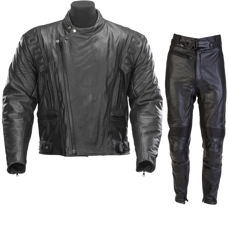 Spada Road Leather Motorcycle Jacket and Trousers Black Kit