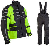 Spada Attitude Kids Leather Motorcycle Jacket and Trousers Black Fluo Kit