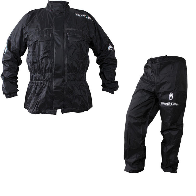 Richa Rain Warrior Motorcycle Jacket and Trousers Black Kit