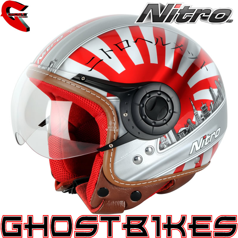 NITRO X548-AV JAPAN OPEN FACE COUNTRY MOTORBIKE MOTORCYCLE SCOOTER CRASH HELMET Enlarged Preview