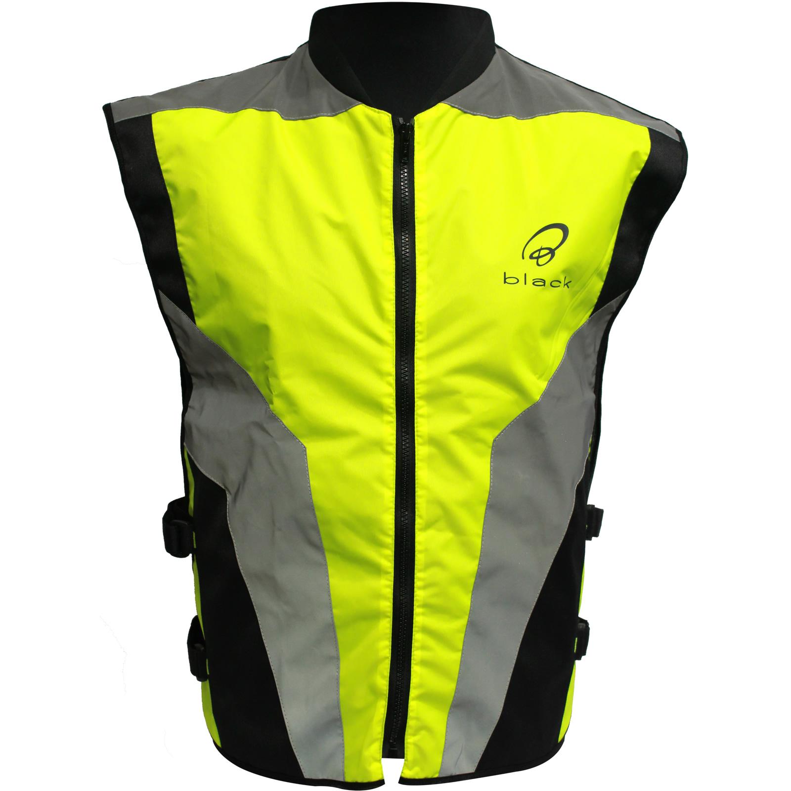 black hi vis reflective motorbike vest high visibility. Black Bedroom Furniture Sets. Home Design Ideas