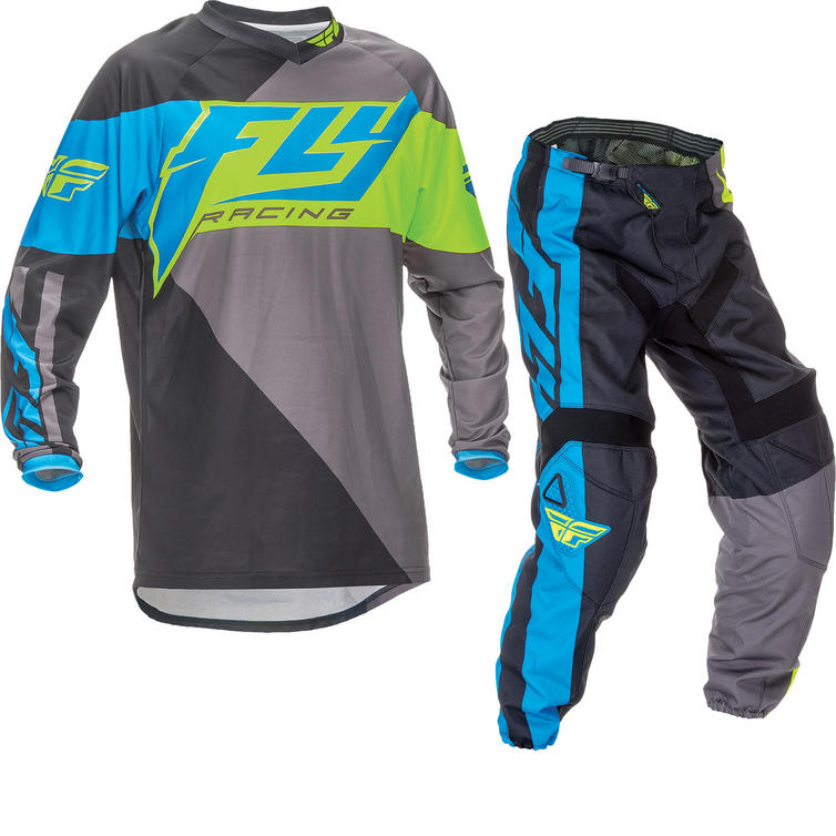Fly Racing 2016 F-16 Youth Blue Hi-Viz Motocross Kit