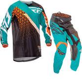 Fly Racing 2016 Youth Kinetic Trifecta Black Teal Orange Motocross Kit
