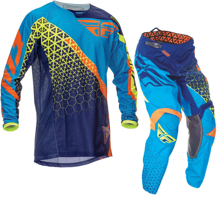 Fly Racing 2016 Youth Kinetic Trifecta Blue Orange Hi-Vis Motocross Kit