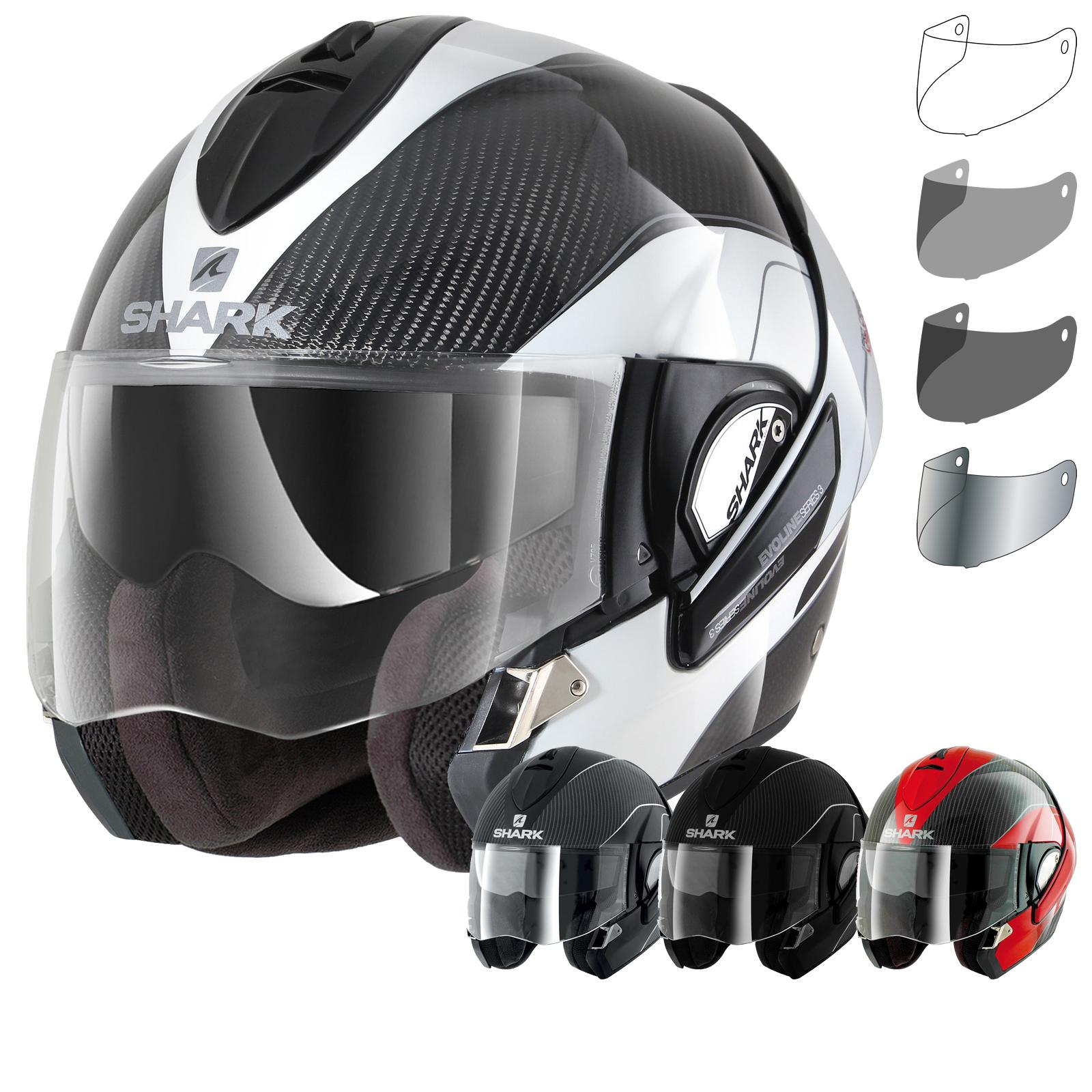 shark evoline pro carbon flip up front motorcycle motorbike helmet modular visor ebay. Black Bedroom Furniture Sets. Home Design Ideas
