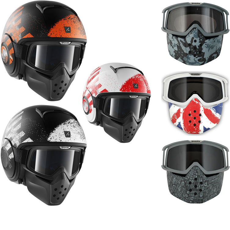 Shark Raw Outcast Open Face Motorcycle Helmet with Goggle & Mask Kit