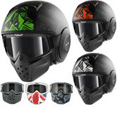 Shark Raw Dante Mat Open Face Motorcycle Helmet with Goggle & Mask Kit