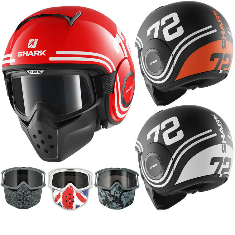 Shark Raw 72 Open Face Motorcycle Helmet with Goggle & Mask Kit
