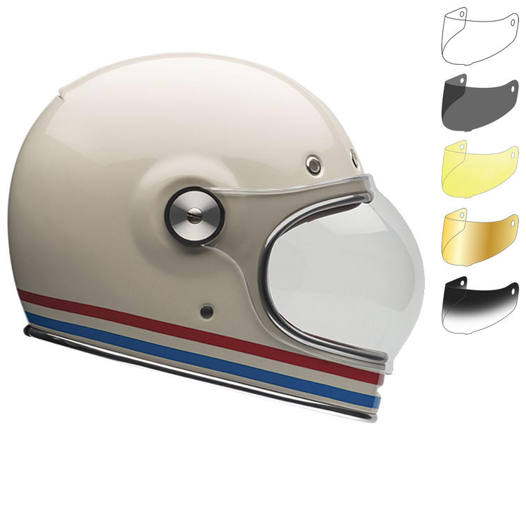 Bell Bullitt Stripes Motorcycle Helmet & Bubble Visor Kit Brown Tab