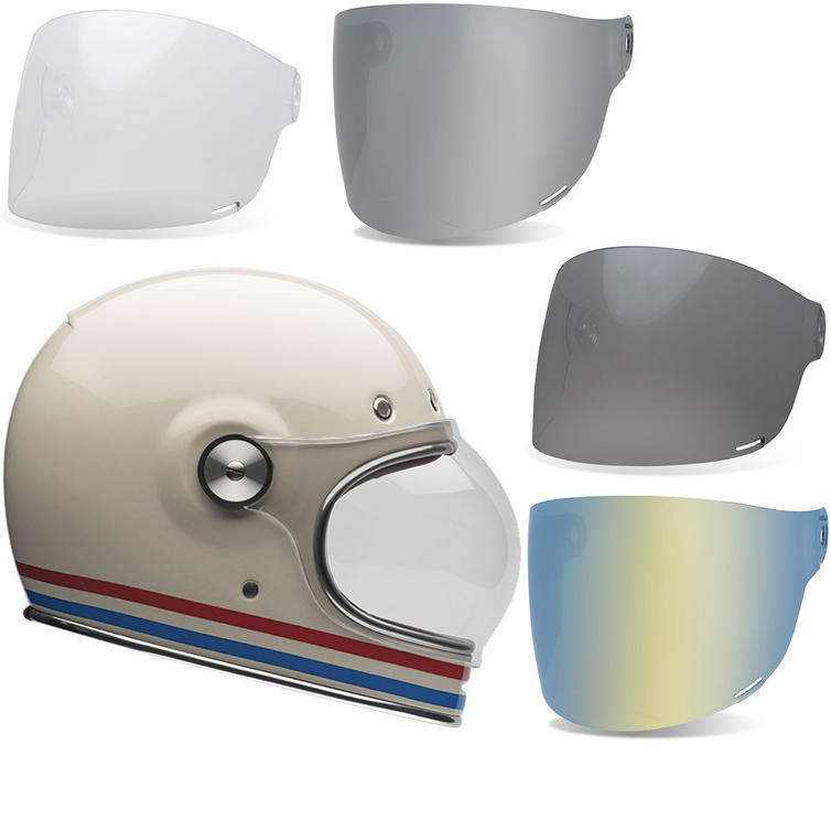 Bell Bullitt Stripes Motorcycle Helmet & Flat Shield Visor Kit Brown Tab