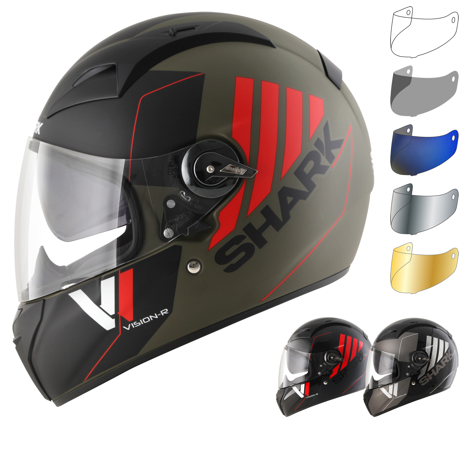shark vision r series 2 cartney motorcycle helmet visor full face helmets. Black Bedroom Furniture Sets. Home Design Ideas