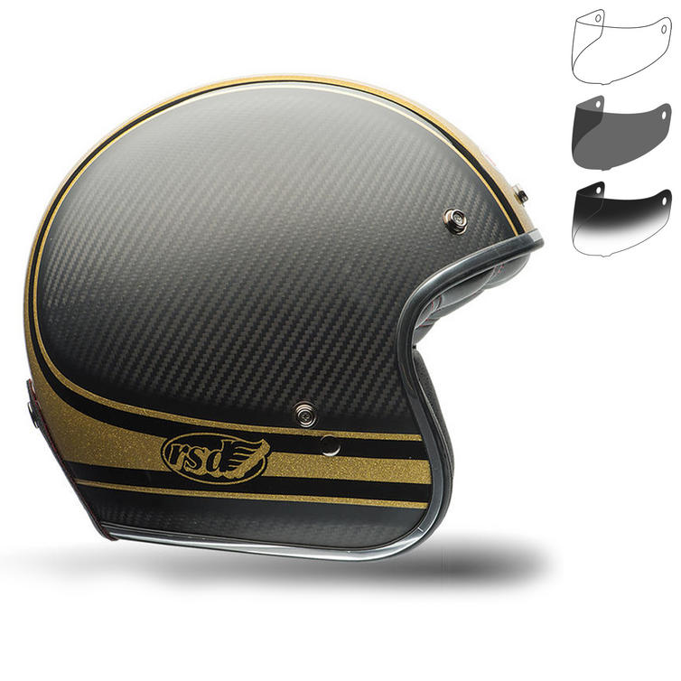 Bell Custom 500 Carbon RSD Bomb Motorcycle Helmet Retro Visor Kit