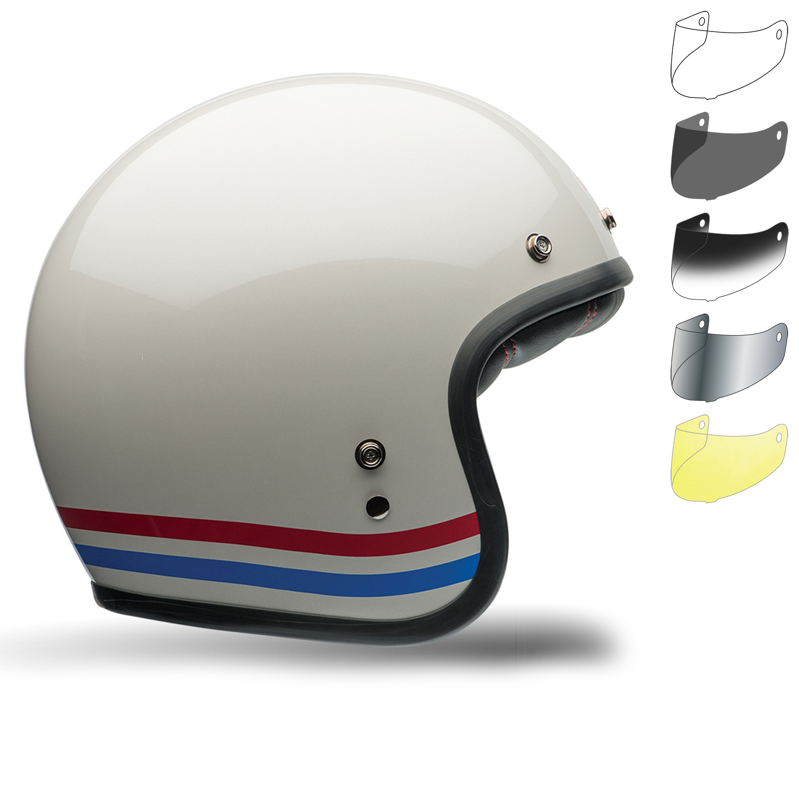 bell custom 500 stripes motorcycle helmet bubble visor kit. Black Bedroom Furniture Sets. Home Design Ideas
