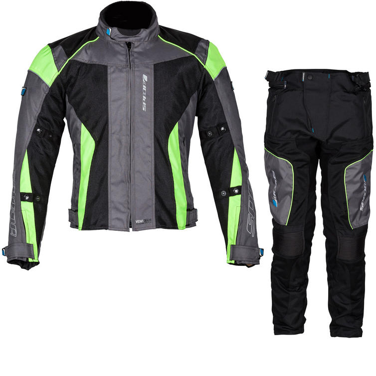Spada Air Pro 2 Motorcycle Jacket & Trousers Black Silver Fluorescent Kit