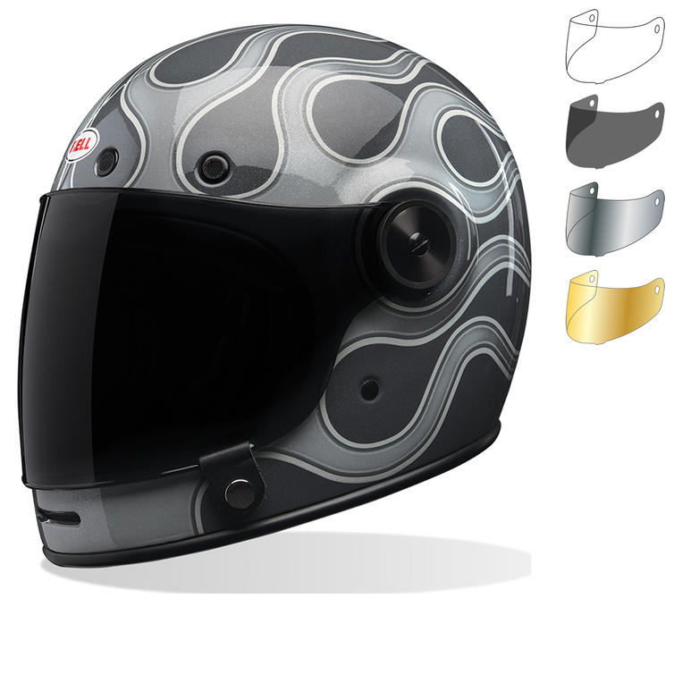 Bell Bullitt SE Motorcycle Helmet & Flat Shield Visor Kit Black Tab