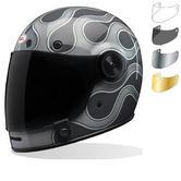 Bell Bullitt SE Motorcycle Helmet & Flat Shield Visor Kit Brown Tab