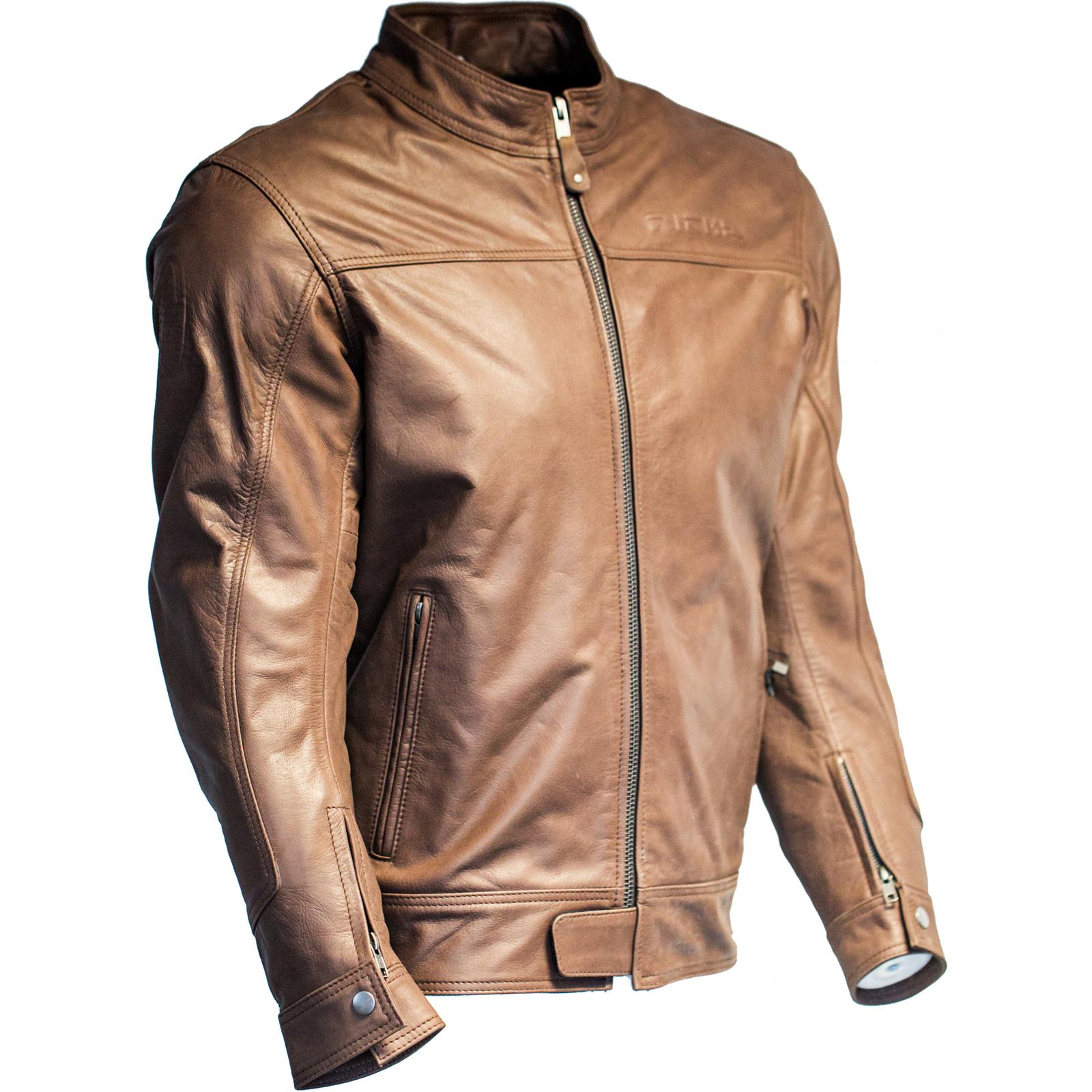 richa cafe leather motorcycle jacket black mens biker café racer