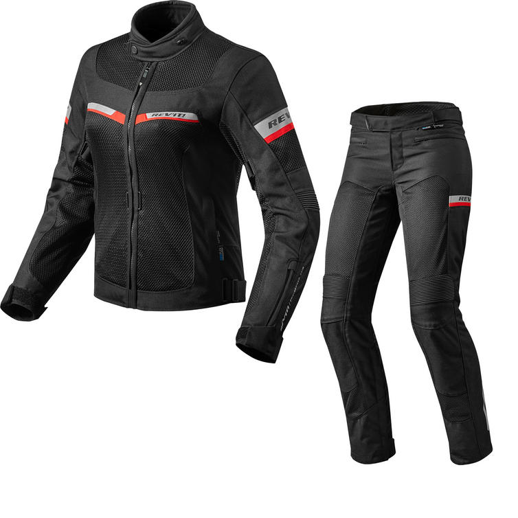 Rev It Tornado 2 Ladies Motorcycle Jacket & Trousers Black Kit