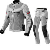 Rev It Tornado 2 Ladies Motorcycle Jacket & Trousers Black Silver Kit