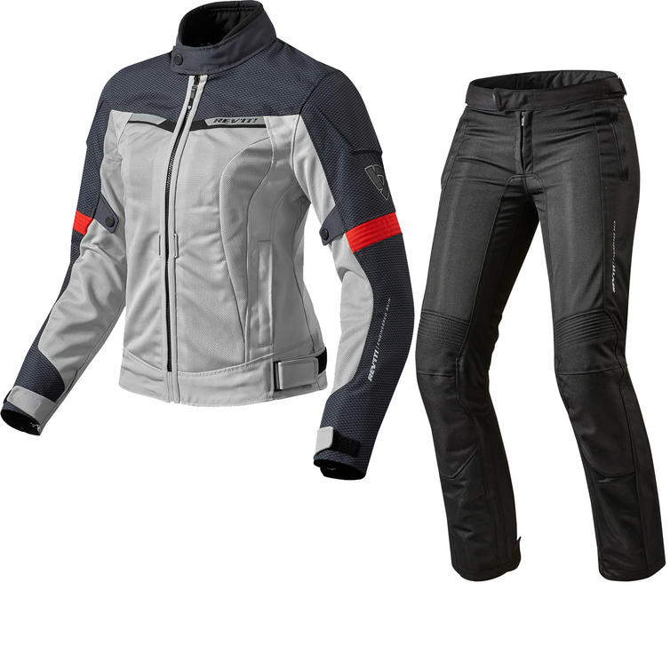 Rev It Airwave 2 Ladies Motorcycle Jacket & Trousers Silver Red Black Kit