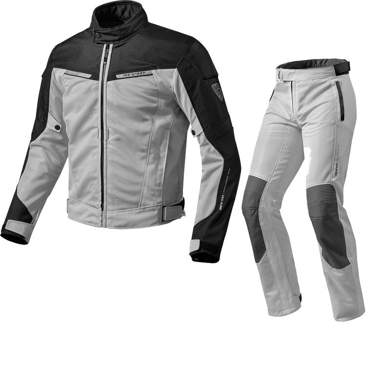 Rev It Airwave 2 Motorcycle Jacket & Trousers Black Silver Kit