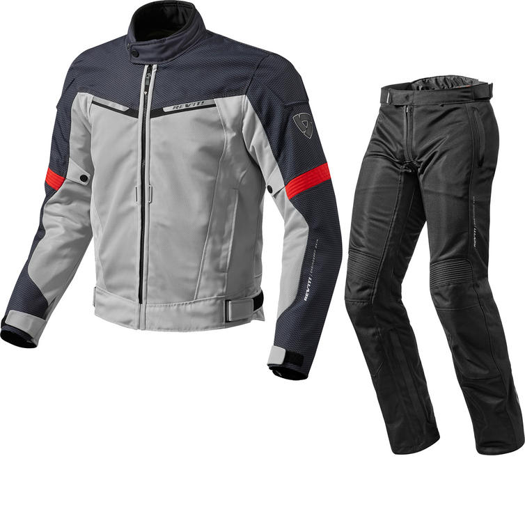 Rev It Airwave 2 Motorcycle Jacket & Trousers Silver Red Black Kit