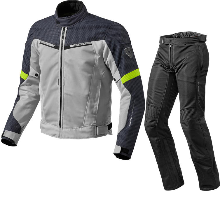 Rev It Airwave 2 Motorcycle Jacket & Trousers Silver Neon Yellow Black Kit
