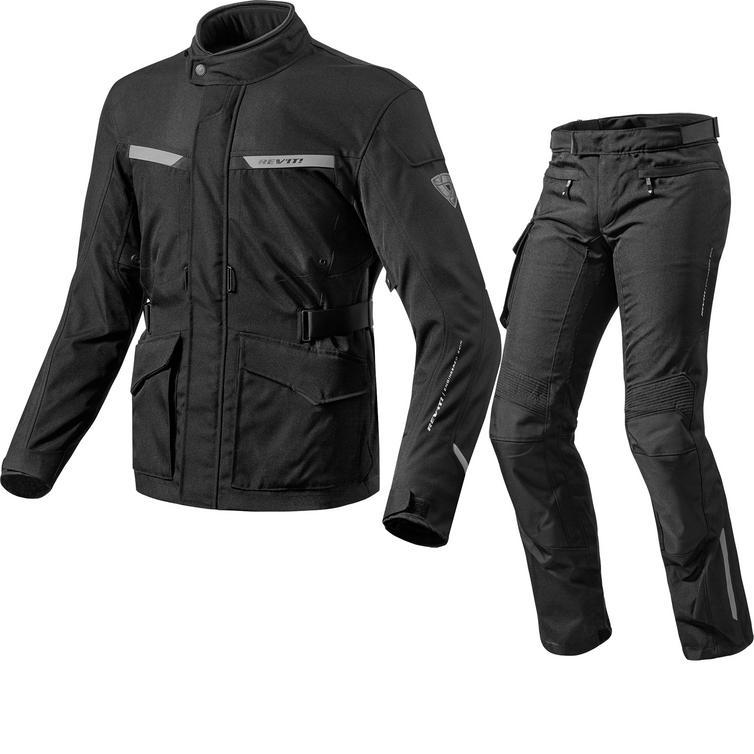 Image of Rev It Enterprise 2 Motorcycle Jacket & Trousers Black Kit