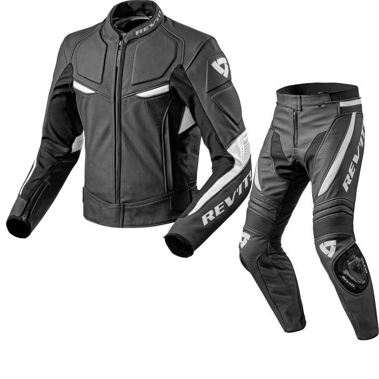 Rev It Masaru Leather Motorcycle Jacket & Trousers Black White Kit