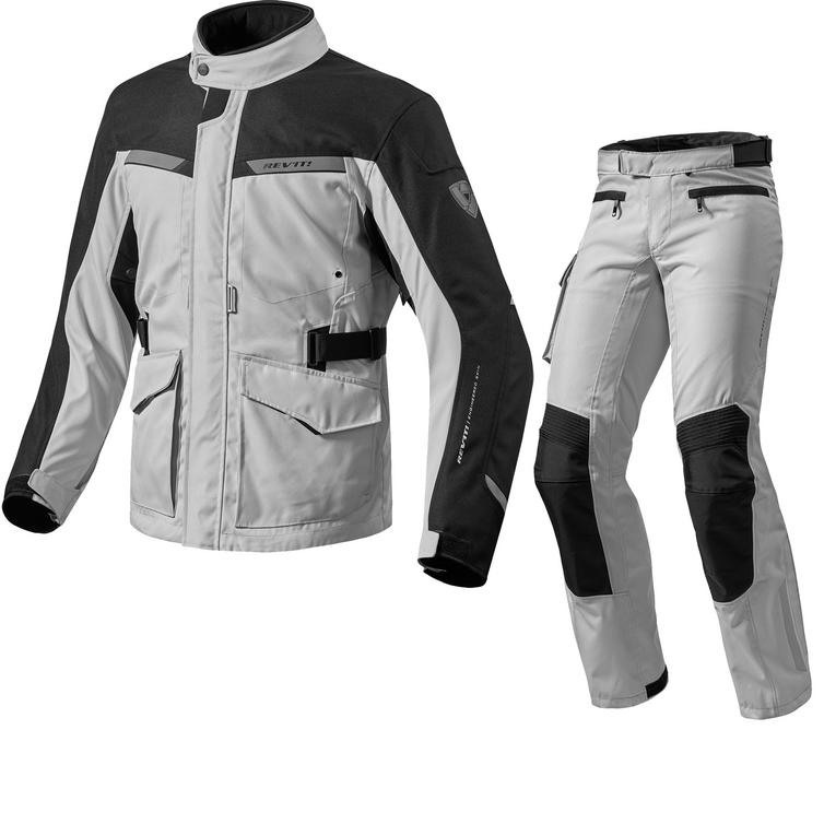 Rev It Enterprise 2 Motorcycle Jacket & Trousers Black Silver Kit