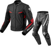 Rev It Masaru Leather Motorcycle Jacket & Trousers Black Red Kit