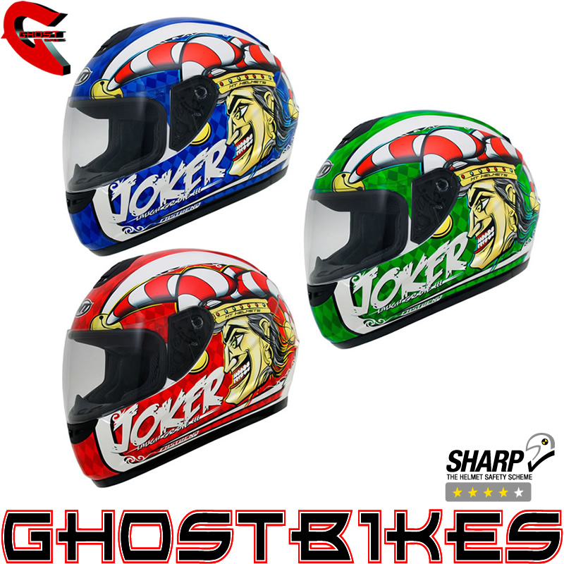 MT THUNDER JOKER POLYCARBONATE MOTORCYCLE MOTORBIKE FULL FACE ROAD CRASH HELMET Enlarged Preview