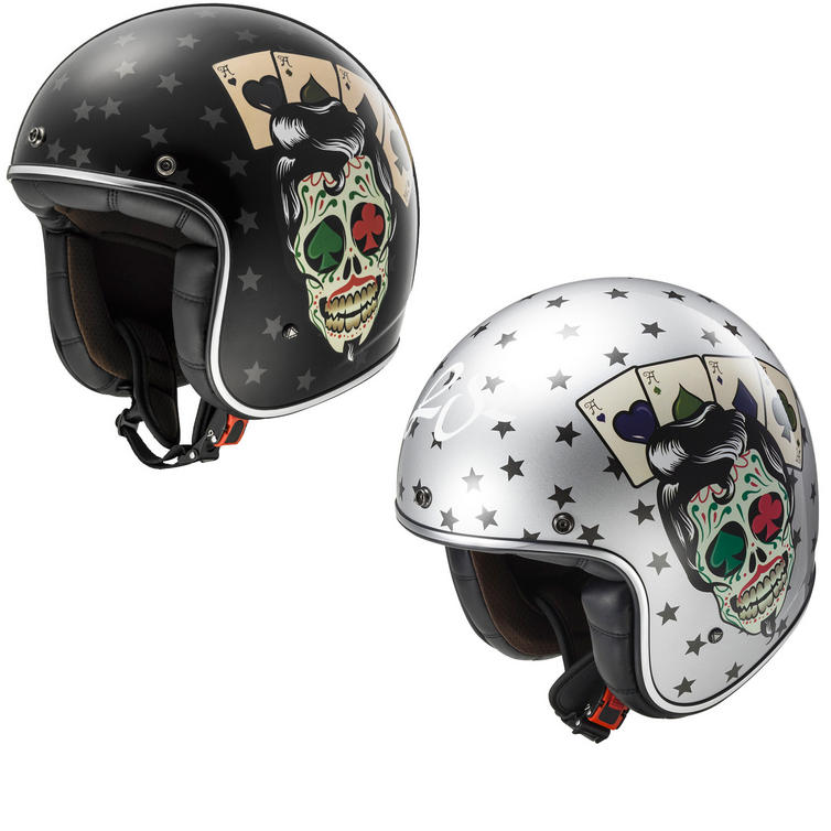 LS2 OF583.30 Bobber Tattoo Open Face Motorcycle Helmet
