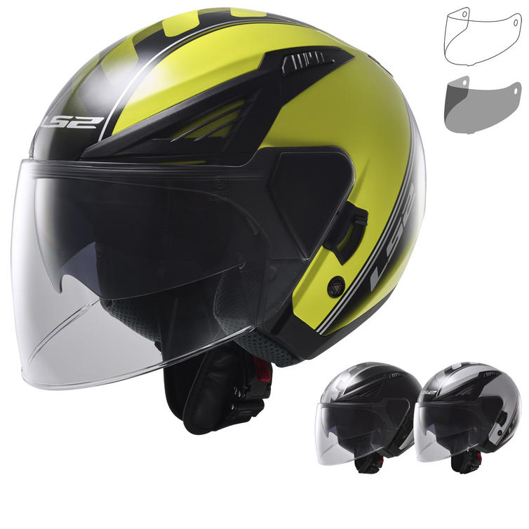 LS2 OF586.11 Bishop Atom Open Face Motorcycle Helmet & Visor