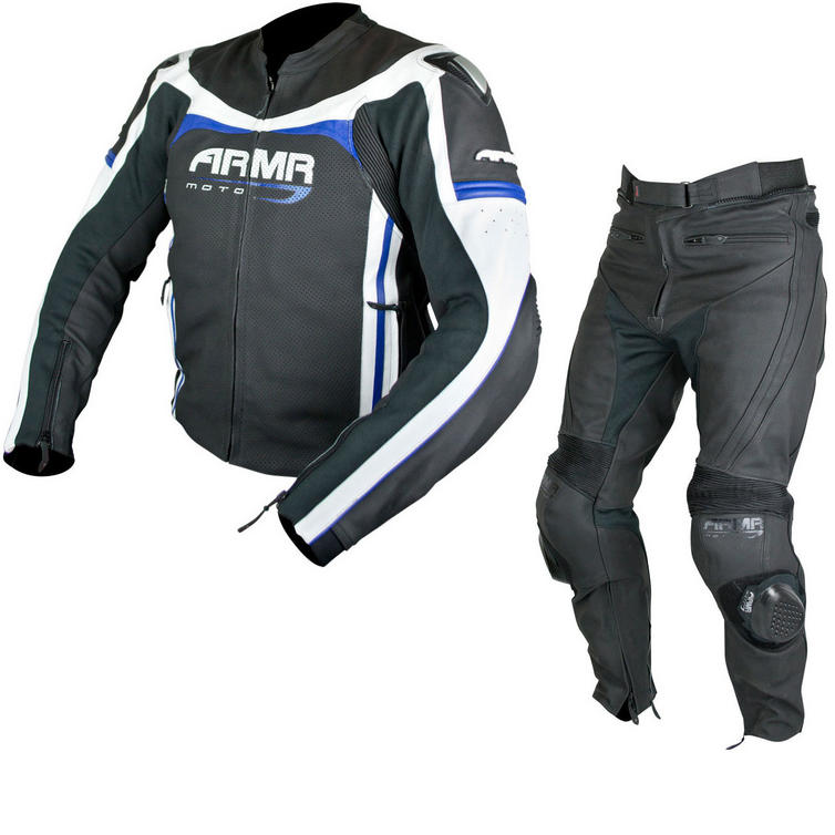 ARMR Moto Raiden Leather Motorcycle Jacket & Trousers Black Blue White Kit