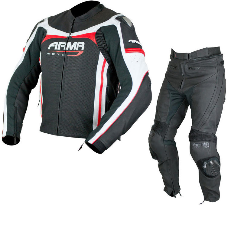 ARMR Moto Raiden Leather Motorcycle Jacket & Trousers Black Red White Kit