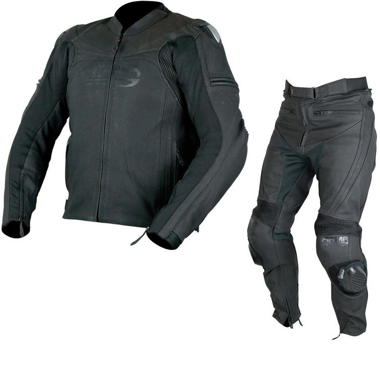 ARMR Moto Raiden Leather Motorcycle Jacket & Trousers Black Kit