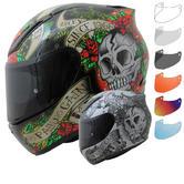 MT Revenge Skull & Roses Motorcycle Helmet & Visor