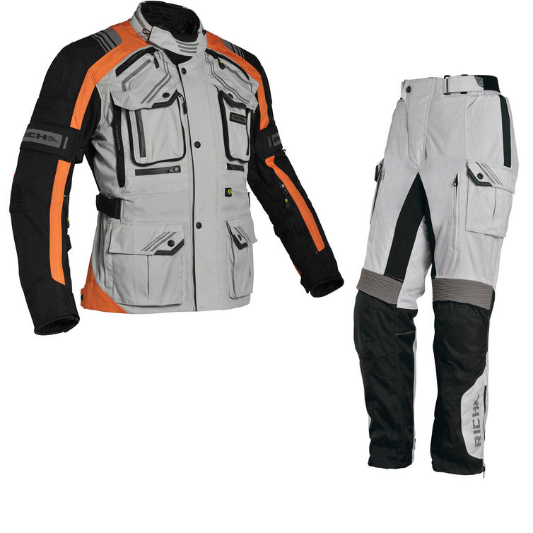 Richa Touareg Motorcycle Jacket & Trousers Orange Grey Kit