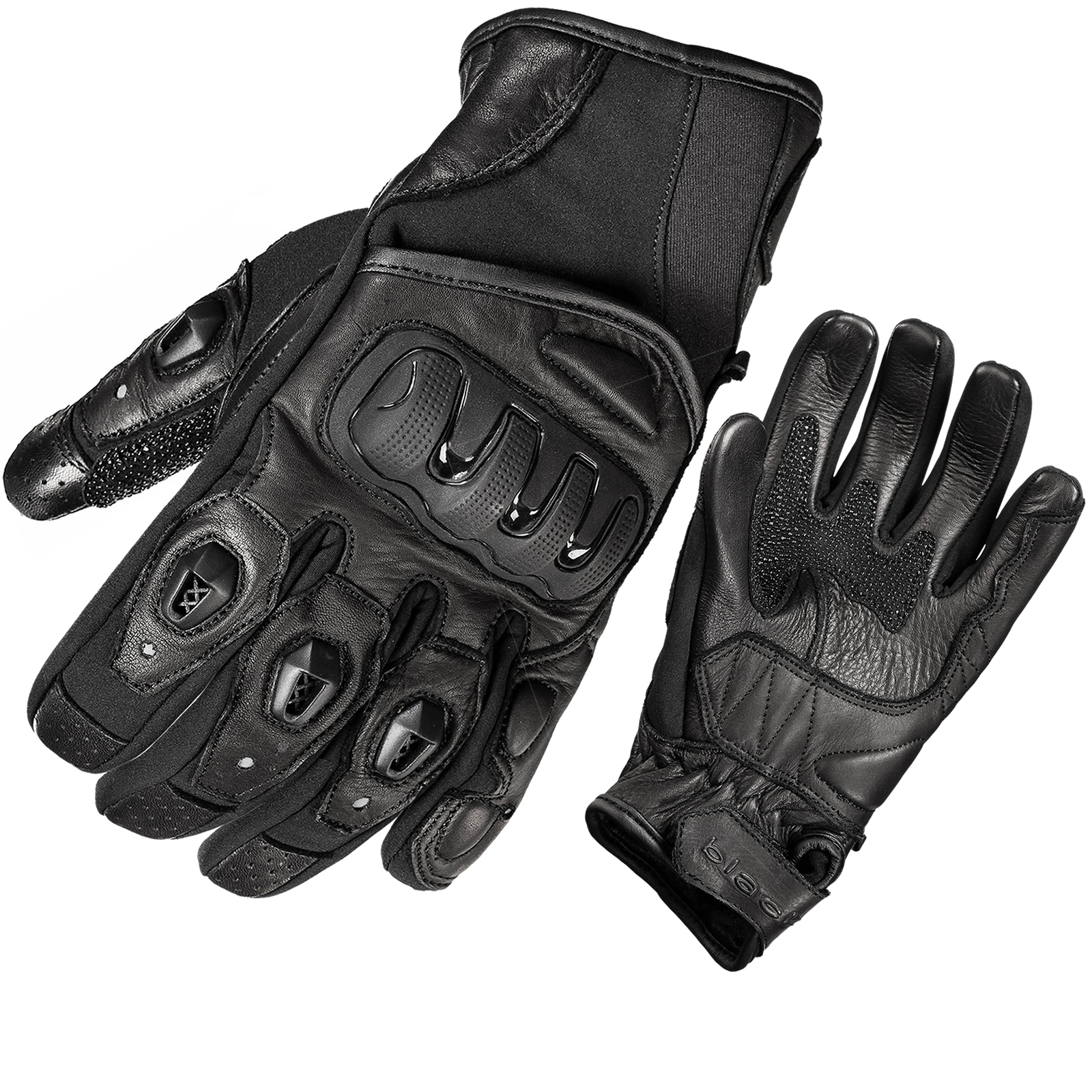 Buy leather gloves perth - Black Spike Leather Motorcycle Gloves