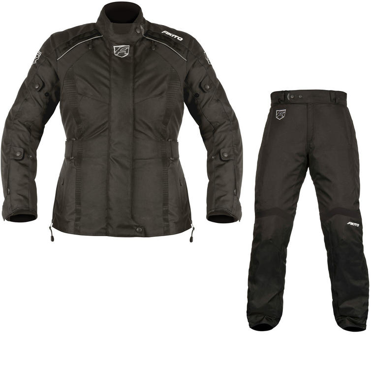 Akito Tornado Ladies Motorcycle Jacket & Trousers Black Kit