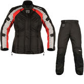 Akito Tornado Ladies Motorcycle Jacket & Trousers Black Red Black Kit